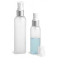 4 oz Clear Frosted PET Bottle with Plastic White/Brushed Metal Mist