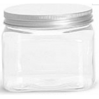 16 oz Square, Clear PET Jar with Brushed Metal Twist Lid