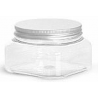 8 oz Square, Clear PET Jar with Brushed Metal Twist Lid